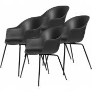 Gubi - Bat Dining Chair Un-Upholstered black (4er Set)