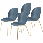 Gubi - Beetle Dining Chair ungepolstert Messing (4er Set) Blaugrau