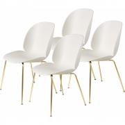 Gubi - Beetle Dining Chair Cadeira de latão sem estofos (conjunto de 4) Alabastro White