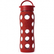 Lifefactory - Glas-Trinkflasche 650 ml | Rot