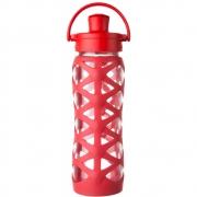 Lifefactory - Glas-Trinkflasche mit Active Flip 650 ml | Rot