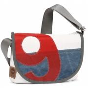 360 Grad - Perle Segeltuchtasche Weiss / Blau / Zahl Rot