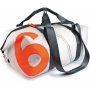 360 Grad - Kutter XL Travel bag white, number neon orange, belt grey