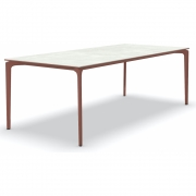 Fast - AllSize table with porcelain stoneware table top, snow 220x100 cm | Terracotta