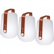 Fermob - Balad lot de 3 lampes extérieures H 12 cm Ocre Rouge