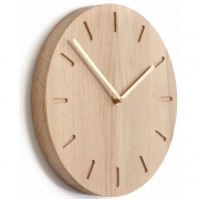 applicata - Watch:Out Wall Clock Oak / Brass