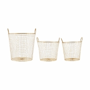 House Doctor - Wire Baskets (Set of 3) Brass