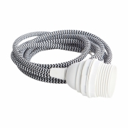 House Doctor - Fabric Wire with E27 Socket Cord: Black / White, Socket: White