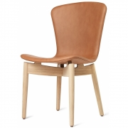 Mater - Shell Dining Stuhl Eiche matt lackiert | Ultra Brandy Leder