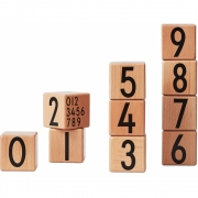Design Letters - AJ Wooden Number Cubes (10-teilig) Natur