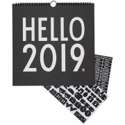 Design Letters - Wall Calendar 2019 Black