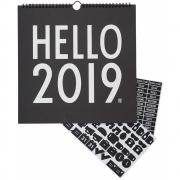 Design Letters - Wandkalender 2019 Schwarz