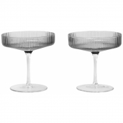 Ferm Living - Ripple Champagne Saucer - Set of 2 - Smo