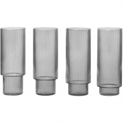 Ferm Living - Ripple Long Drink Glass - Set of 4 - Smo