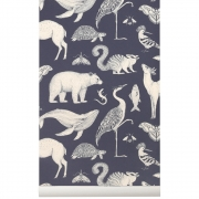 Ferm Living - Katie Scott Wallpaper - Animals - Dark B