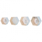 Bloomingville - Hexagonal Box Wandregal Set