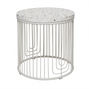 Bloomingville - Cap Table d'appoint Blanc Fiberstone
