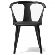 &tradition - In Between SK2 Chair with upholstered seat Leather Black / Ash black