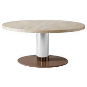 &tradition - Mezcla JH20 Lounge Table Chrome / Travertine