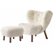 &tradition - Little Petra VB1 Lounge Chair incl. ATD1 Pouf (set) Sheepskin Moonlight (Walnut Base)