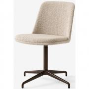 &tradition - Rely HW14 Gepolsteter Stuhl mit Schwenkfuß und Sitzkissen Grauweiß