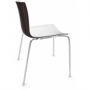 Arper - Catifa 46 0251 Chair bicoloured White-Dark Brown | Chrome