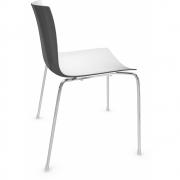 Arper - Catifa 46 0251 Stuhl zweifarbig Weiß-Anthrazit | Verchromt