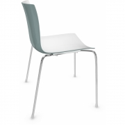 Arper - Catifa 46 0251 Chair bicoloured White-Petrol | Chrome