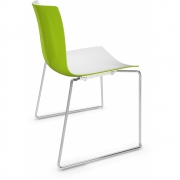 Arper - Catifa 46 0278 Sled Base Chair bicoloured White-Green | Chrome