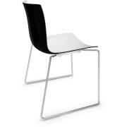Arper - Catifa 46 0278 Sled Base Chair bicoloured White-Black | Chrome
