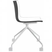 Arper - Catifa 46 0369 Stuhl mit Rollen fest zweifarbig Weiß-Anthrazit | Alu glänzend