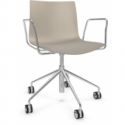 Arper - Catifa 46 0294 Swivel Chair with Armrests chrome unicoloured Dove Grey