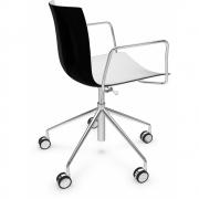 Arper - Catifa 46 0294 chaise pivotante avec accoudoirs chromé bicolore