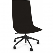 Arper - Catifa Sensit Office 4902 Swivel Chair with Castors Soft Leather Black | Black