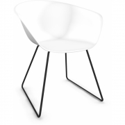 Arper - Duna 02 4200 Chair Sled Base White | Black