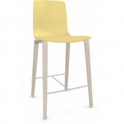 Arper - Aava 3993 Barstool Wood Legs 65 cm | Yellow | Birch White