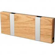 LoCa - Knax Garderobenleiste Holz 2 Haken Eiche geölt | Grau
