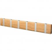 LoCa - Knax Garderobenleiste Holz 6 Haken Eiche geölt | Grau