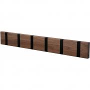 LoCa - Knax Garderobenleiste Holz 6 Haken Nussbaum geölt | Schwarz
