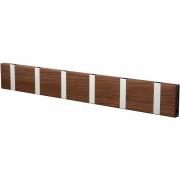 LoCa - Knax Garderobenleiste Holz 6 Haken Nussbaum geölt | Grau