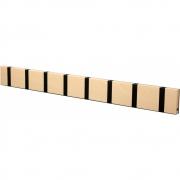 LoCa - Knax Garderobenleiste Holz 8 Haken Buche geölt | Schwarz