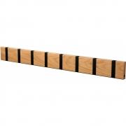 LoCa - Knax Garderobenleiste Holz 8 Haken Eiche geölt | Schwarz