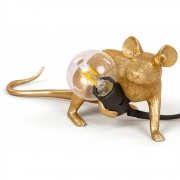 Seletti - Mouse Table Lamp Gold Lop - Lying Down