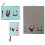 Seletti - I Love You Toiletpaper Conjuntode caderno normal, saco de cosmética e espelho