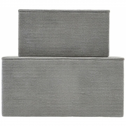 House Doctor - Corduroy Storage with Lid (Set of 2) Grey