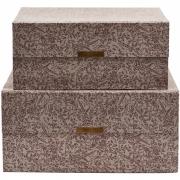 House Doctor - Floral Caixas de armazenamento (2 peças) Cinzento