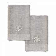 Georg Jensen Damask - Serviettes de table en tissu uni (lot de 2) lin gris