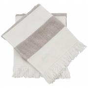 Meraki - Barbarum Towel, White and Brown Striped, 40x60 cm, Set of 2