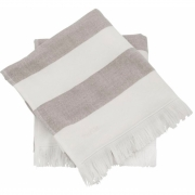 Meraki - Barbarum Towel, White and Brown Striped, 50x100 cm, Set of 2