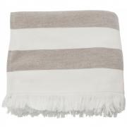 Meraki - Barbarum Towel, White and Brown Striped, 100x180 cm
